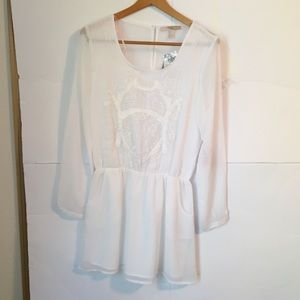 F21 embroidered white dress